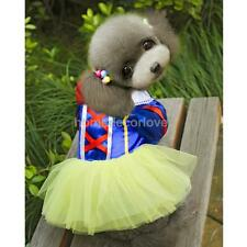 Pet Dog Puppy Snow White Disney Halloween Dress Costume Princess Clothes XS-XL
