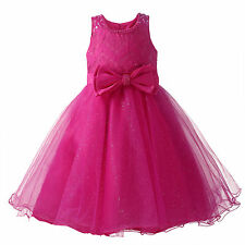 Little Girls' Embroider Bow Mesh Flower Girl Dress Tulle Princess Formal Party