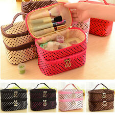 Women Portable Cosmetic Polka Dots Organizer Beauty Makeup Case Pouch Zip Bag LS