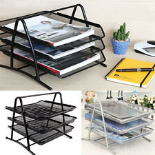 3 Tiers Office Filing Trays Holder A4 Document Paper Wire Mesh Storage Organiser