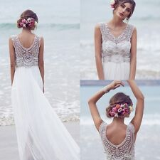 2016 New White Beads Chiffon Beach Wedding Dresses Custom Made Bridal Gowns