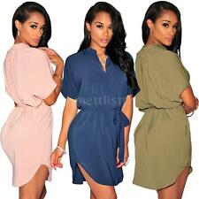 Women Long Shirt Dress V Neck Lady Short Sleeve Loose Mini Dress Summer W5M9