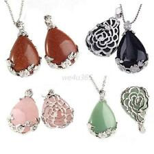 New Gemstone Teardrop Pattern Pendant For Necklace Women Plated Bead Jewelry W41
