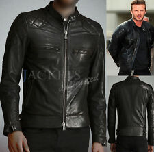 David Beckham Black Leather Jacket Genuine Leather OR Faux Biker Style 023BL