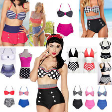 Retro High Waisted Vintage Push Up Bandeau Bikini Set Sexy Swimsuits Swimwear
