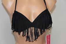 NWT Hula Honey Swimwear Bikini Bra Top BLK Push-up Fringe