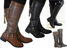 SALE New Womens Black Brown Fur Inside Leather Style Knee High Length Boots Size