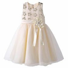 BEIGE BOW FLOWER GIRL DRESS WEDDING BRIDESMAID RECITAL PAGEANT FORMAL BIRTHDAY