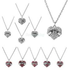 Family Member Rhinestone Crystal Love Heart Pendant Chain Necklace Jewelry Gifts