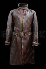 Aiden Pearce Watch Dogs Stylish Leather Jacket - Distressed Brown Trench Coat