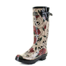 Womens Wyre Skull And Roses Print Wellies Festival Wellington Boots Sz Size
