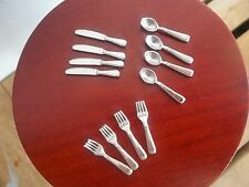 Dolls House Miniatures 1/12th scale 12 Piece Sliver Cutlery Set D2282 New