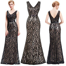 Vintage Women Formal Sequined Long Wedding Party Evening Gown Dress Plus Size