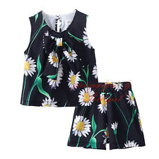 Baby Girl Sleeveless Floral T-shirt Shorts Set Kids Flower Summer Clothes Outfit