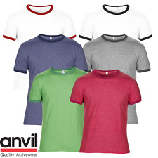 Anvil MEN'S T-SHIRT RINGER CONTRAST NECK SLEEVES TEE TOP STYLE SOFT COTTON S-2XL
