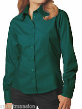New Ladies Girls' Green Long Sleeve Oxford Office Top Blouse Shirt Sizes 8 to 20