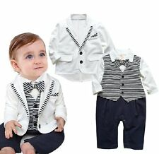 Baby Boy Wedding Christening Dressy White Tuxedo Outfits+Jacket Suits Set 3-24M