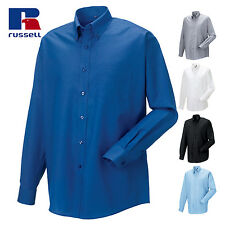 Russell Collection OXFORD SHIRT LONG SLEEVE COTTON MEN WORK EASY CARE ALL SIZES