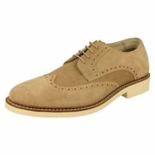 Mens AM beige suede leather wing cap lace up shoe 274