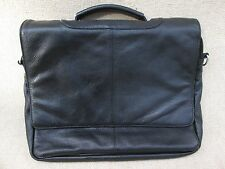 PAUL & TAYLOR Black Leather Expandable Organizer Bag Satchel Soft  Briefcase
