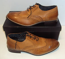 LONDON BROGUES LEATHER Men's New Tan Brown Lace Up Formal Shoes Sizes UK 8-11