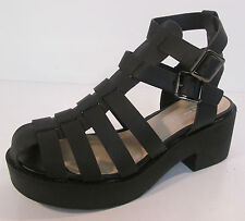 Ladies Spot on Black gladiator heeded sandals F10168