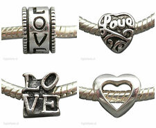 Valentine Love Heart Silver Charm *Buy any 3 charms get 4th FREE!* UK Seller