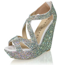 "Marc Defang 5.5"" Heels Luxury Crystal Bridal Strappy Platform Wedges"