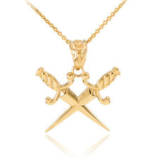 Yellow Gold Double Crossed Daggers Pendant Necklace