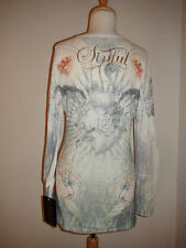 Sinful by Affliction White Multi Thermal Long Sleeve Shirt Top w/Cross NWT XL