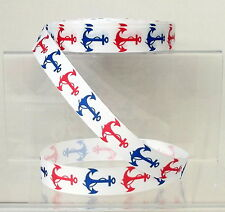 "Nautical Anchors Grosgrain Ribbon 22mm 7/8"" wide 1, 2 or 5 metres Red & Navy"