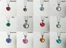 Birthstone 14mm Swarovski Crystal Heart Pendant W/Sterling Silver Necklace Chain
