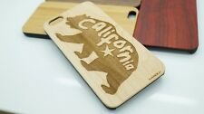 iPhone Samsung WOOD CALIFORNIA BEAR Custom Phone Case Natural Cherry Engraved