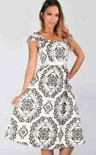 Womens Vintage Style Rockabilly Dress Paisley Sweetheart Neckline
