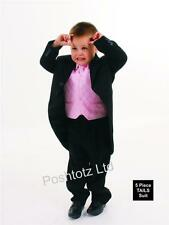 Boys Suits  5 Piece Black & Pink Tails Suit Formal Wedding Pageboy 0-3mths-15yrs