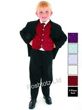 Boys Suits 5pc Wine Formal Suit Wedding Christening Pageboy (0-3mths-14yrs)