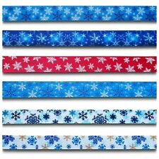 Blue Red White Snowflake Christmas Xmas Grosgrain Ribbon 1 Yrd Crafts Cakes