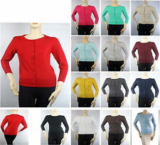Women 3/4 Slv Crew Neck Button Down Knit Cute Cardigan Good Fabric Sweater  Top