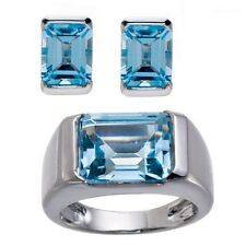 Sky Blue Topaz Gemstone Solid Sterling Silver 925 Jewelry Set Ring & Earrings