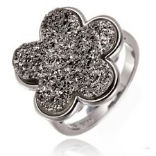 New Gray Druzy Agate Flower Ring Solid 925 Sterling Silver Women's Jewelry