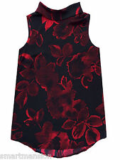 New Ex Next Ladies Black Sleeveless Roll Neck Floral Print Blouse Top Size 6-12