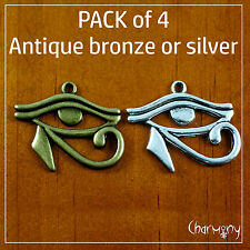 Eye of Horus charms ~PACK of 4~ antique silver or bronze ancient Egypt Egyptian