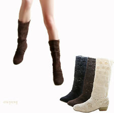 Womens Wedge Low Heel Shoes Lace Cowboy Boots Mid-Calf Boots US Size OB928
