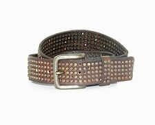 WILL LEATHER GOODS MEN'S STUDDED Brown Leather BELT $210NWT 60241 Sz 28
