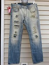 American Eagle Men's slim straight Jeans Destroyed light Wash sz Choose Your Own