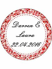 30-90 PRE-CUT EDIBLE WAFER CUP CAKE TOPPERS ENGAGEMENT ANY NAMES HEART BORDERS