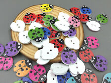 50/100PCS Mixed Color beetle/Ladybug Wooden Buttons Sewing Scrapbook Craft 18mm