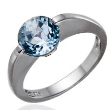Round 8mm Sky Blue Topaz Gemstone 925 Sterling Silver Solitaire Ring, Womens