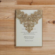 Floral Cut-out Wedding Invitation Cards With Envelopes, Seals, Personality Print
