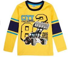 Boys Long Sleeve Digger TShirt Top - Age 18 24 Mths 2 3 4 5 Kids Tractor Clothes